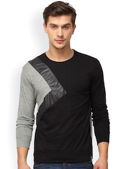 Campus Sutra Black & Grey Colourblocked T-shirt