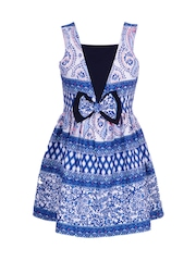 naughty ninos Girls White & Blue Printed Fit & Flare Dress