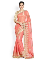 Soch Coral Orange Embroidered Chiffon Embellished Saree