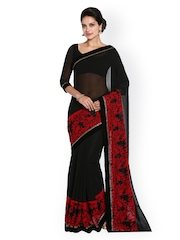 Soch Black & Red Embroidered Silk Georgette Saree