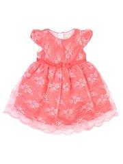 Nauti Nati Girls Peach-Coloured Lace Fit & Flare Dress