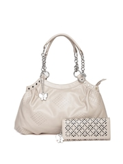 Butterflies Beige Cut-Out Handbag with Wallet