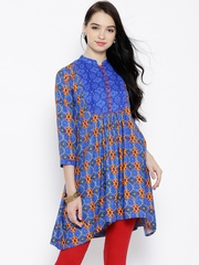 Tissu Blue Printed Anarkali Kurti