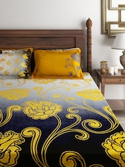 Raymond Home Yellow 180 TC Cotton Double Bedsheet with 4 Pillow Covers