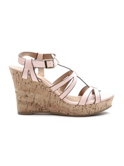 Qupid Women Dusty Pink Strappy Textured Wedges