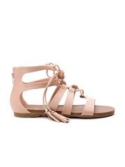 Qupid Women Nude-Coloured Textured Tie-Up Gladiators