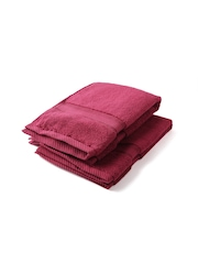 Trident Indulgence Maroon Cotton 590 GSM Set of 2 Hand Towels