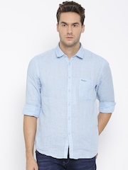 Pepe Jeans Men Blue Linen Casual Shirt