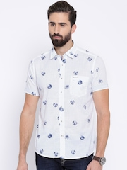 Pepe Jeans White Printed Semi Fit Casual Shirt