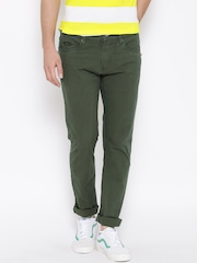 Pepe Jeans Men Olive Green Solid Regular Fit Chinos