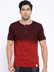 Campus Sutra Maroon & Red Ombre-Dyed Henley T-shirt