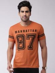 Moda Rapido Orange Printed Slim T-shirt