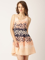 DressBerry Peach-Coloured Printed Fit & Flare Georgette Sleeveless Dress