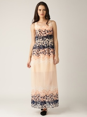 DressBerry Peach-Coloured Floral Print Polyester Maxi Dress