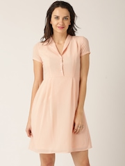 DressBerry Women Peach-Coloured Solid A-Line Dress