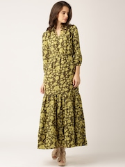 Dressberry Olive Green Georgette Printed Maxi Dress