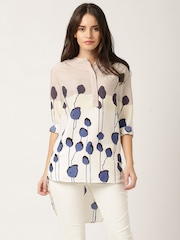 DressBerry Taupe & Off-White Printed Polyester Shirt