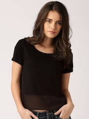 DressBerry Black Sheer Polyester Top