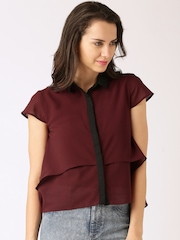 DressBerry Women Maroon Layered Shirt Style Top