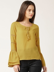 DressBerry Mustard Yellow Polyester Top