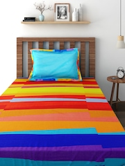 BOMBAY DYEING Multicoloured 144 TC Cotton Single Bedsheet with 1 Pillow Cover