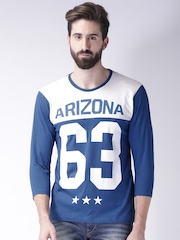 Moda Rapido Men Blue Printed Round Neck T-Shirt
