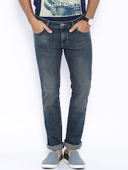 Wrangler Dark Blue Low-Rise Skanders Slim Fit Jeans