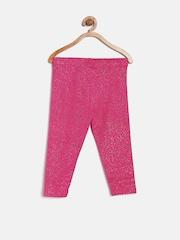 Sera Girls Pink Printed Shimmer Leggings