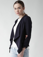 New Look Navy Polyester Front Open Blazer