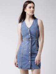 New Look Blue Denim Sheath Dress
