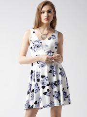 New Look White & Blue Floral Print Fit & Flare Dress