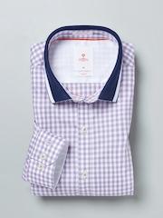 INVICTUS Lavender & White Checked Slim Smart Casual Shirt