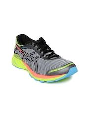ASICS Women Grey & Neon Green DynaFlyte Running Shoes