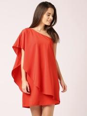 DressBerry Red Chiffon One-Shoulder Layered Dress