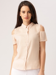 DressBerry Women Peach-Coloured Solid Shirt Style Top