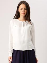 DressBerry Women Off-White Solid Regular Top