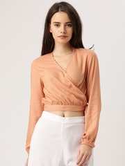 DressBerry Women Peach Solid Wrap Top