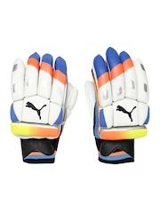 PUMA Boys White & Blue evoSPEED Left-Handed Batting Gloves