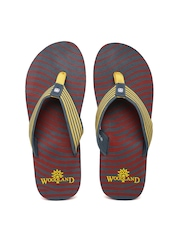 Woodland ProPlanet Men Yellow & Grey Striped Flip-Flops