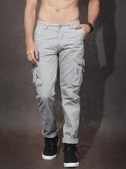 Roadster Men Grey Solid Slim Fit Trousers