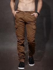 Roadster Men Brown Solid Slim Fit Trousers