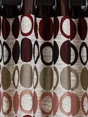 Cortina Beige & Brown Single Patterned Blackout Door Curtain