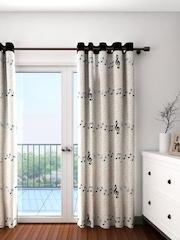 Cortina Cream-Coloured Single Printed Room Darkening Door Curtain