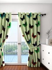 Cortina Green Single Butterfly Print Room Darkening Door Curtain