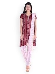 SOUNDARYA Maroon & Off-White Bhandani Print Dress Material