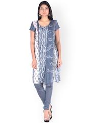 SOUNDARYA Grey Bandhni Print Unstitched Dress Material