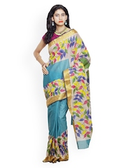 Unnati Silks Blue & Beige Kerala Cotton & Jute Hand-Painted Traditional Saree