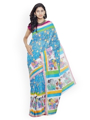 Unnati Silks Blue Pure Kerala Cotton Hand-Painted Traditional Saree