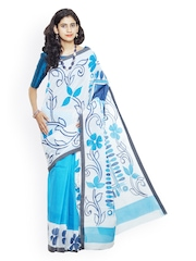 Unnati Silks White & Blue Pure Kerala Cotton Hand-Painted Traditional Saree