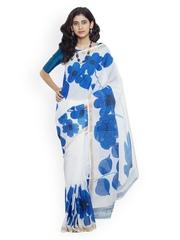 Unnati Silks White Pure Kerala Cotton Hand-Painted Traditional Saree